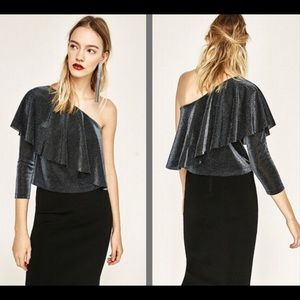 Zara Shimmery Asymmetric Top